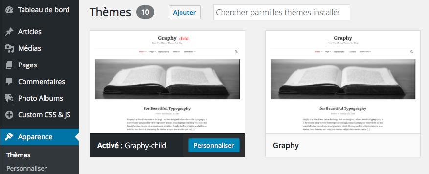 Capture écran thème WordPress